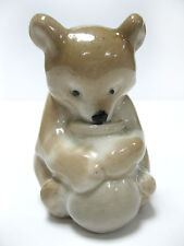 Soviet Russian BEAR with honey Porcelain Animal Figurine Gorodnitsa Last Century