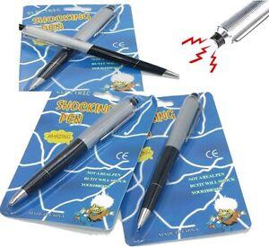 4 Shocking Electric Shock Novelty Metal Pen Prank Trick Joke Gag Toy Gift Buzzed