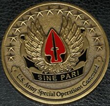 US ARMY SPECIAL OPERATIONS COMMAND SINE PARI MILITARY CHALLENGE COIN