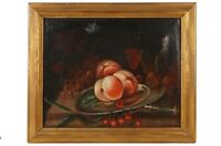 Late 18thEarly 19th Century Still Of Fruit Oil On Canvas Painting Giltwood Frame