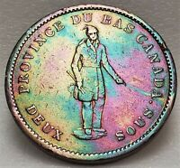 🍁 LC-9B1 One Penny Token Deux Sous 1837 Bas Lower Canada Quebec Bank Breton 521