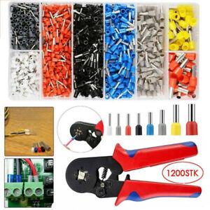 1200Pcs Crimp Tool W/ Bootlace Ferrule Crimper Plier Wire Terminal Connector Set