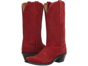 Old West Suede Red Womens Size 7.5 B Leather 12in Cowboy Boots LF1519