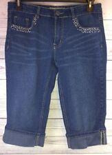 VGS Women's Capris Size 6 Stretch Embellished Denim  (b1)