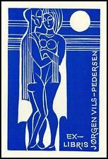Janousek Dusan 1975 Exlibris X2 Bookplate Erotic Erotik Nude Nudo Woman 294