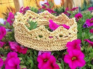 Newborn-Baby-Crown-Crochet-Headband-Gold-Princess-Prince-Birthday-photo prop