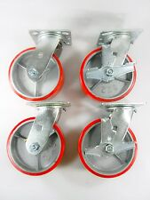 "6"" x 2"" Polyurethane On Cast Iron (Red) - Swivel(2EA) & Swivel with Brake(2EA)"