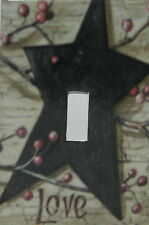 PRIMITIVE COUNTRY BLACK BARN STAR BERRIES STAR LOVE SINGLE TOGGLE SWITCH PLATE