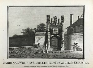 Historic View Wolsey Gate College Ipswich Suffolk Original engraved print c1795