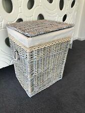 Large Grey Wicker Laundry Basket Storage Box With Washable Lining, Handles & Lid