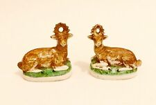 Fantastic Pair Early Antique Deer: Stag & Doe in Porcelain Staffordshire Bisque