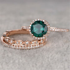 3Pcs/Set Emerald 18K Rose Gold Filled Wedding Engagement Gift Ring Sz 6-10