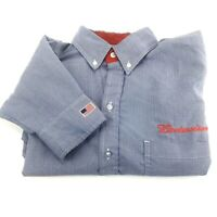 Budweiser Mens Dress Shirt Button Down Embroidered Striped Blue Size 42/16.5