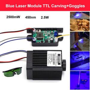 Focusable High Power 2.5w 450nm 2500mW Blue Laser Module 12V CNC Fan w/ Goggles