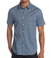 John Varvatos Star USA Men's Short Sleeve Antique Floral Print Shirt Steel Blue