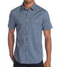 John Varvatos Cotton Stripe Skull Print Short Sleeve Button Front Shirt Mens M//L
