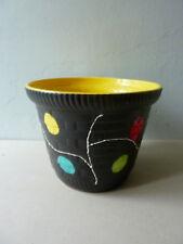 grand cache pot en céramique Poët-Laval Vannerie, noir et coloré, vintage an 50