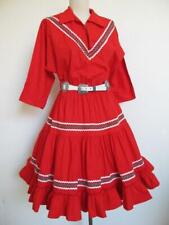 Vintage Rockabilly Square Dance Squaw Dress S Red Green Tiered Ruffle Christmas