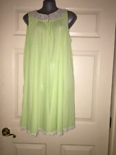 Vintage SEARS ROEBUCK Green Nylon SHORT NIGHT GOWN LINGERIE sz L 38-40