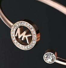 MICHAEL KORS MK Crystal End Cuff BRACELET Bangle Rose Gold w/ a MK brown POUCH