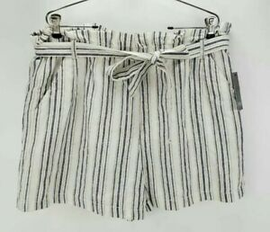 NWT A.n.a Womens Shorts Navy Stripe Belted Elastic Waist Flat Front Pockets A4