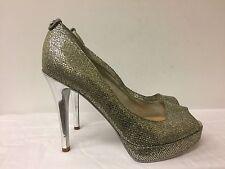MICHAEL MICHAEL KORS  silver glitter open toe platform pumps size. 6M