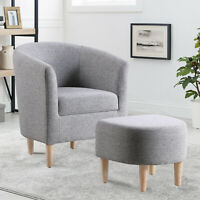 Modern Arm Chair Curved Back w/ Ottoman Accent Sofa Linen Fabric Upholstered