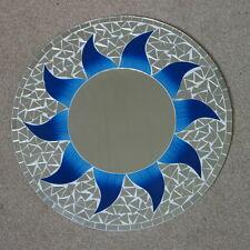 Superba realizzati a mano mosaico specchio SOLE Design Colore Blu 40 cm di larghezza