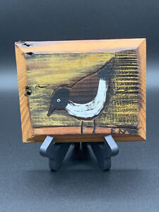 Rare Vintage Daisy Eno Art Shorebird Seagull Painting Carved on Barn Wood