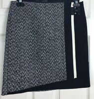 White House Black Market Sz 4 Black & White Tweed Accent faux wrap Pencil Skirt