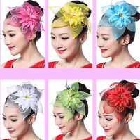 Women Girl Dance Bling Sequin Sequined Party Hair feather Flower Fascinator Prop
