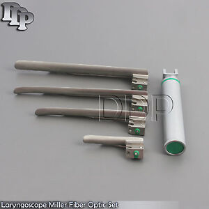 Laryngoscope Miller Fiber Optic Set LED, No. 1, 2, 3 & 4 with Handle LS-3094