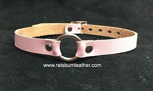 Pale Pink LEATHER O-Ring CHOKER Collar restraint necklace RATS BUM