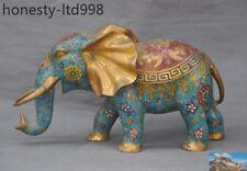 A China fengshui Bronze Cloisonne Enamel Gilt auspicious wealth Elephant statue