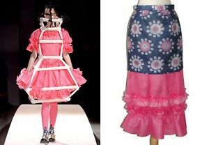 ** COMME DES GARCONS ** Ruffled Paper-like Floral Print Tiered Skirt S