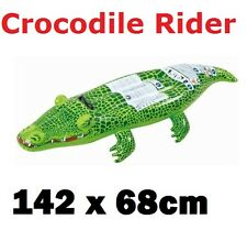 Inflatable Crocodile Rider Swimming Pool Float Lilo Beach Ride On Toy-142 x 68cm