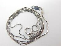 """10K White Gold Box Link Chain Necklace .9 Grams .5 mm x 18"""""""