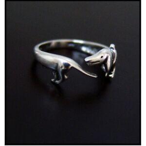 Dachshund Sausage Dog Weiner Dog Dachsie Doxie Antique Silver Effect Ring BN
