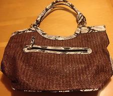 NWOT La Diva Woven Wicker & Snake Skin Print Satchel Style Large Handbag Purse