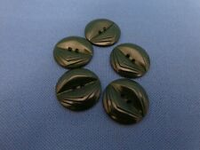 """5 vtg dark green resin flat clothing buttons sewing crafts 7/8"""" coats jackets"""