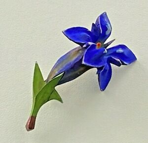 Vintage Celluloid FLOWER Brooch DEEP BLUE Purple LILY  with Green Foliage #93