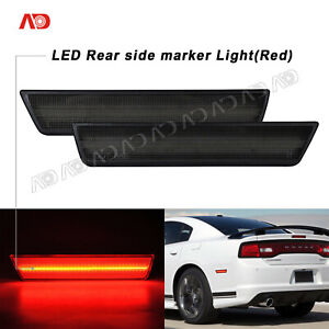 For 2011-2014 Dodge Charger Challenger LED Side Marker Light Smoked Red Rear 2x