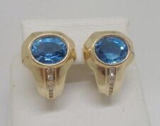 14K YELLOW GOLD 4CTW BLUE TOPAZ 12 DIAMOND LEVERBACK EARRINGS 7gr 14KT STUNNING