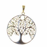 Lebensbaum Anhänger 925er Silber Vergoldet Symbol Schmuck - NEU