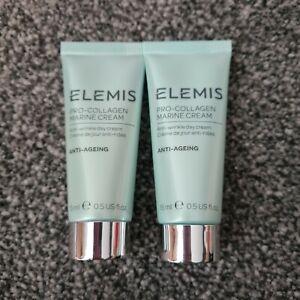 ELEMIS Pro Collagen Marine Cream ANTI-WRINKLE Day Cream 15ml x 2  Sealed UK
