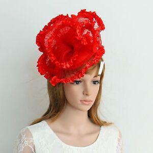 New Church Derby Wedding Pleated Poly Fascinator Dress Hat w Headband 349 Red