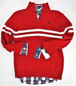 Medium (10-12) 2 Pc Youth Boys Polo Assn. Red Sweater Plaid Long Sleeve Shirt