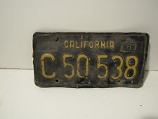 DMV cleared 1963 Black and Yellow California License Plate Embossed