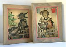 2 Vintage Large Anri Germany 3D Hummel Shadow Box Pictures With Wood Ascents