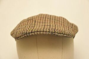 VINTAGE MADE IN ENGLAND BARBOUR TWEED FLAT CAP GREEN SMALL - MEDIUM